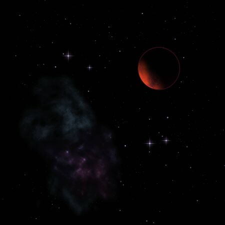 Far-out planets in a space against stars and nebula. Elements of this image furnished by NASA . 3D rendering