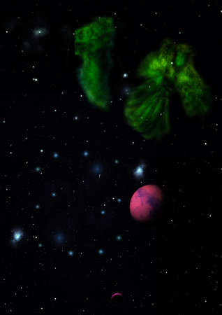 Far-out planets in a space against stars and nebula. Elements of this image furnished by NASA .