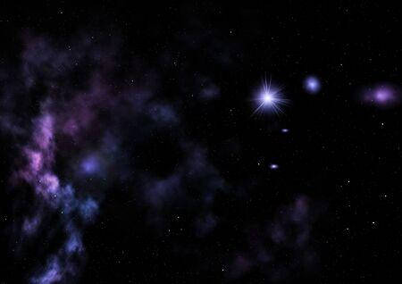 Sterrenveld in de ruimte een nevel en een gascongestie. 3D-rendering