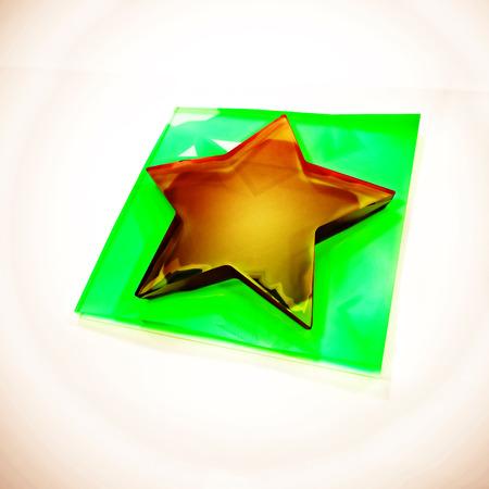 스타 3D 기호입니다. 3D 렌더링입니다.