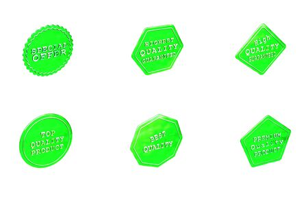 Set of Sale product badges. 3D rendering. Stock Photo