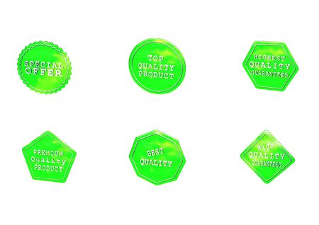 High Quality set of Sale product badges isolated on white. 3D rendering. Stock Photo