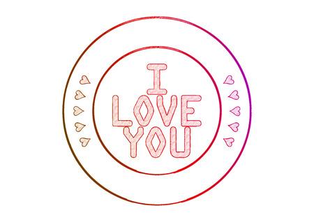 Rubber stamp I Love You. 3D illustration.