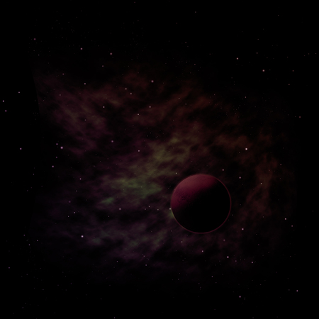 Planet in a space against stars and nebula.