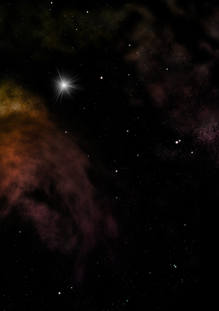 Star field in space and a nebulae. 3D rendering Stock Photo