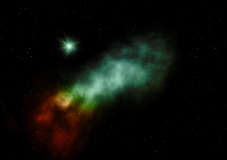 Far being shone nebula and star field. 3D rendering