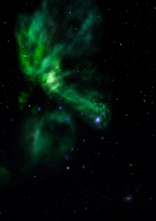 Far being shone nebula and star  against . Elements of this image furnished by . 3D rendering.
