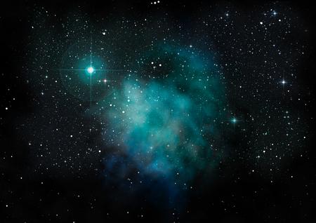 Lontano brillava nebulosa e campo stellare contro lo spazio.