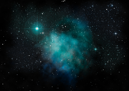 Odległa mgławica i pole gwiezdne świeciły na tle kosmosu.