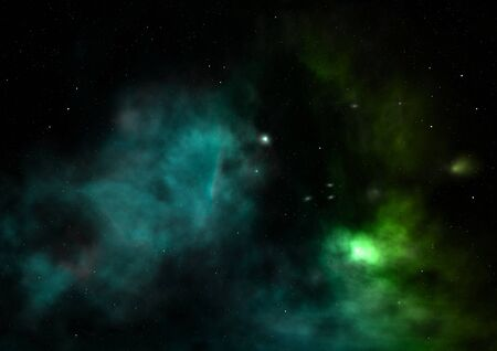 Being shone nebula and star field. 3D rendering Stock fotó - 129201216