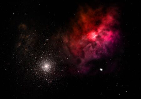 Star field in space and a nebulae. 3D rendering Фото со стока