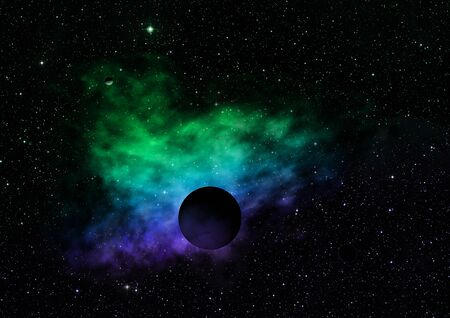 Planet in a space against stars and nebula. Elements of this image furnished by NASA 3D rendering. Stockfoto