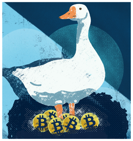 Goose that lays the golden Bitcoin. Goose standing over her Bitcoins. Bitcoins profits.