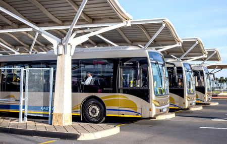 Pretoria, South Africa - March 6, 2018: Public busses waiting in depot. Éditoriale