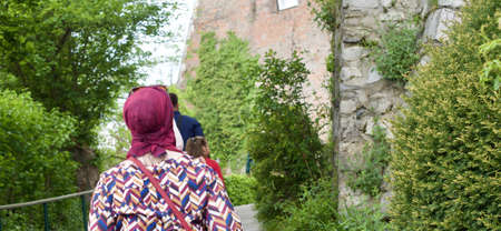 muslim woman is wearing a headscarf