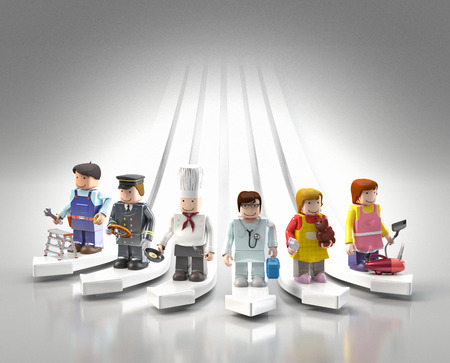 Diversity occupations people standing on arrows pointing to different direction and future   Including doctor, cooker, driver, engineer, cleaner   veterinarian in colorful plastic block lifestyle  photo