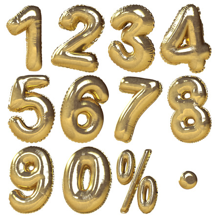 Ballonnen van getallen percentage symbolen gepresenteerd in gouden metalen stijl Ideaal voor korting te koop gebruik geïsoleerd in een witte achtergrond Stockfoto