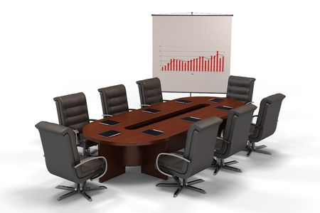 elbowchair: conference table with graph on screen isolated on white background (3d rendering) Stock Photo