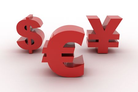 Red Euro Dollar and Yen isolated