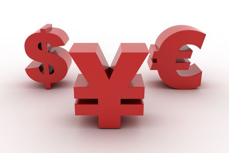Red Yen Dollar and Euro isolated Standard-Bild