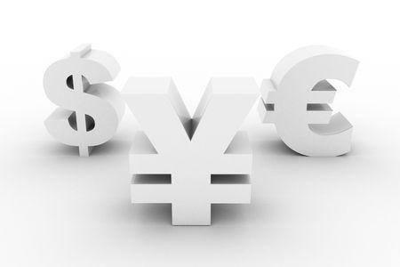 White Yen Dollar and Euro isolated Standard-Bild