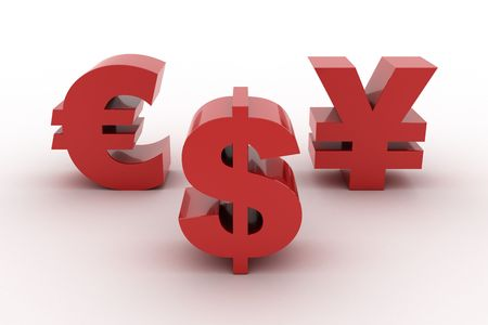 Red Dollar Euro and Yen isolated