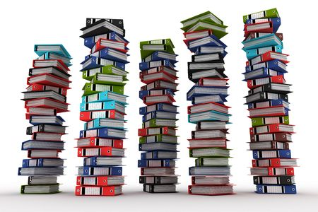 disorganization: A piles of archive binders isolated on white background (3d rendering) Stock Photo