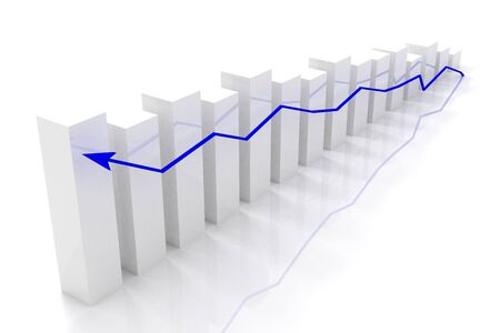 graph of business success and growth concept - isolated (3d rendering)