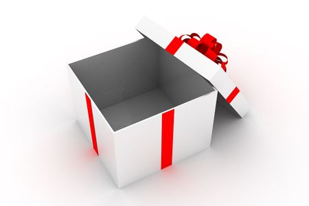 Opened present box isolated on white background
