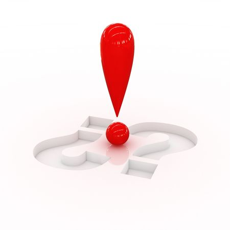 exclamation point: Red exclamation point over two questions Stock Photo