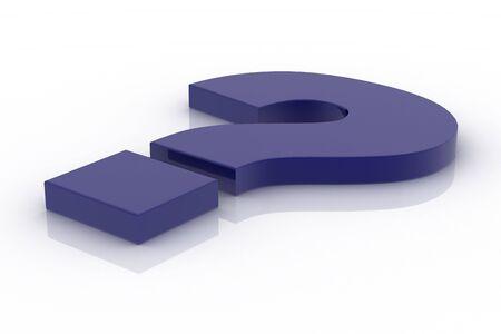 Blue lying question mark Standard-Bild