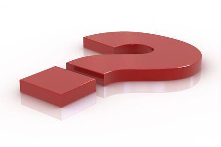 Red lying question mark Standard-Bild