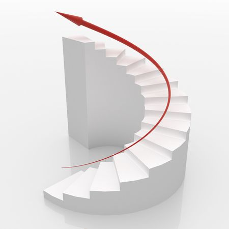 White spiral stairs to success