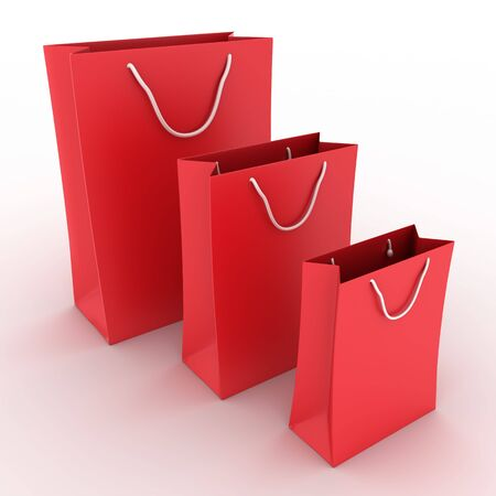 Three red shopping bags on white background