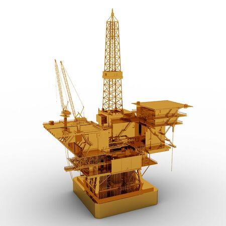 oil platform: Oil Rig golden model isolated on white background