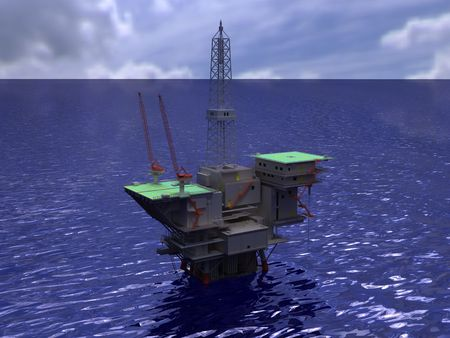 Oil rig on water rendering
