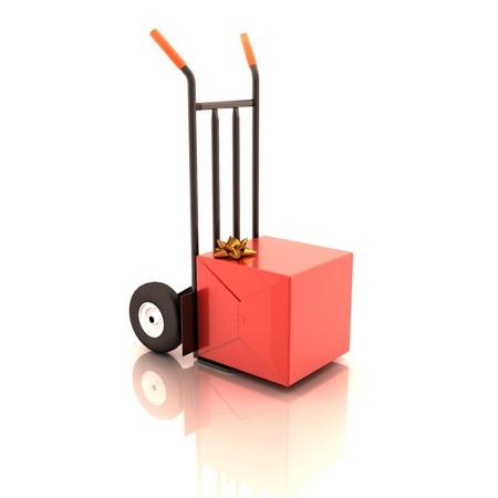 Gift box on the cart Standard-Bild