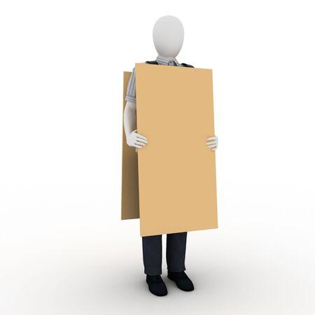 human with banner Standard-Bild