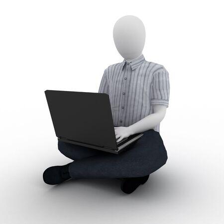 human working on laptop