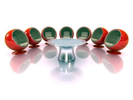 3d modern chairs around a table Standard-Bild