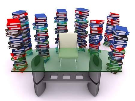 disorganization: Pile of bindes round a table