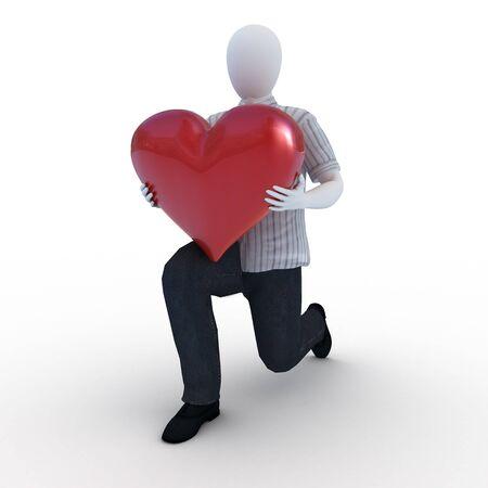 Human giving his heart kneeling Standard-Bild