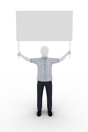 human holding a billboard Standard-Bild