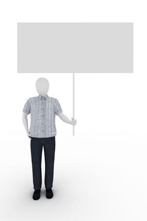 Human holds a billboard on white background Standard-Bild