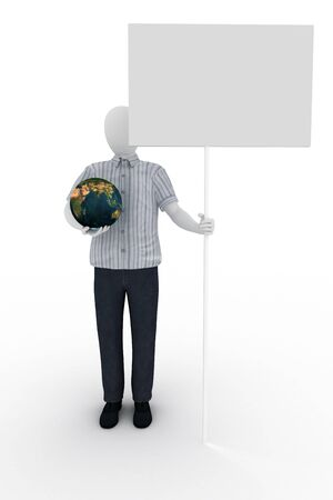 Human holds the world and banner