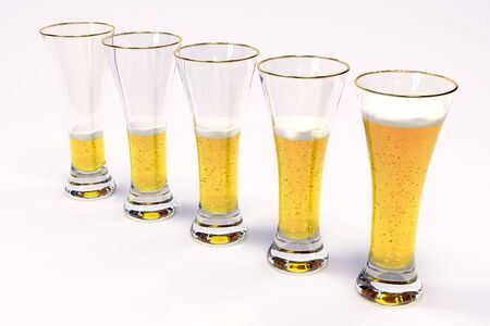five glasses with beer on white background