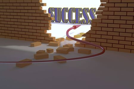 an arrow sign overcome a wall to success