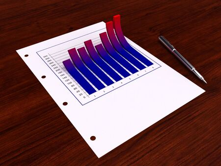 3d graphic sticks out from the paper Stock Photo - 5288907
