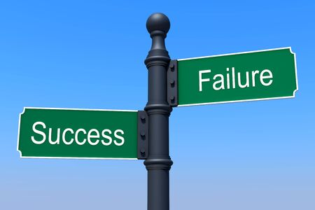 Road sign with success and failure inscription