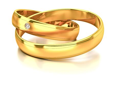 Two wedding rings with diamond